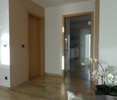 steklena in rjava notranja vrata v dnevnem prostoru