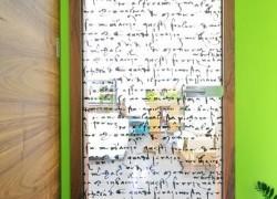 M2S vrata domači oreh podboj krilo stekleno z printom na steklo